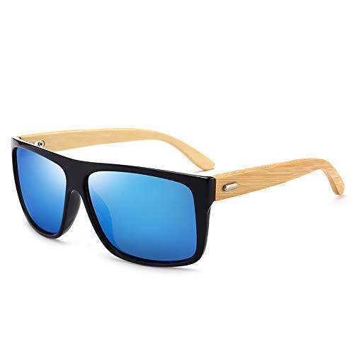 Zbertx Bambus Holz Sonnenbrillen Umwelt Männer Frauen Glas Retro Vintage Sunglass Uv Sonnenbrille Mit Bambus Fall,Blau
