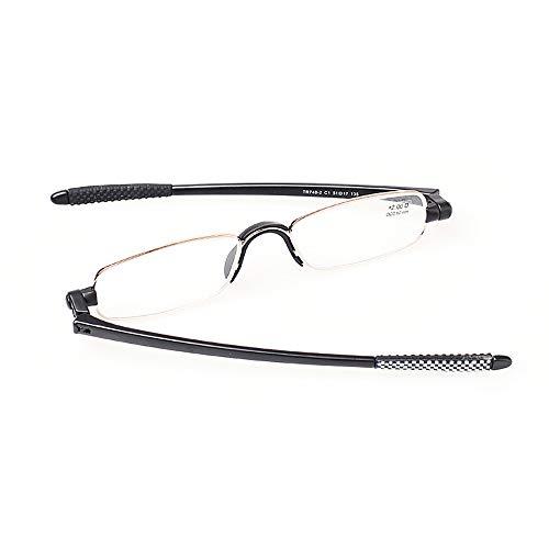 ZSSM Rotierende Lesebrille Tragbare, Rutschfeste, ultraleichte, ultradünne Anti-Ermüdungs-Brille HD für Frauen und Männer, die Faltbare Harzbrillen wandern,+1.00