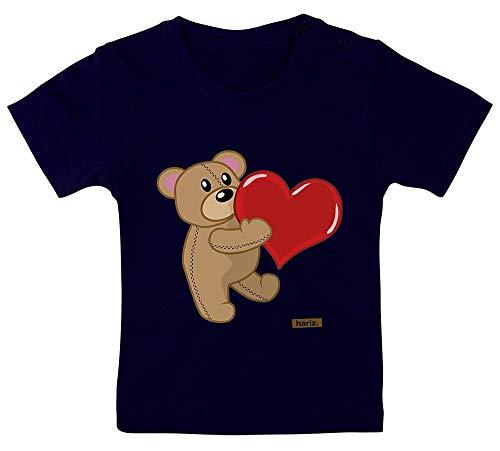 HARIZ Baby T-Shirt Bär Mit Herz Gezeichnet Tiere Zoo Plus Geschenkkarten Matrosen Dunkel Blau 15-24 Monate / 80-92cm -