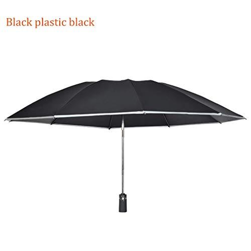 Regenschirm 108cm123cm Reverse Folding Umbrella Automatikschirm Schwarz Kunststoff Sonnencreme UV Regenschirm für Männer und Frauen (Color : Black)