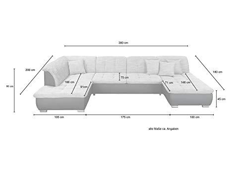 Wohnlandschaft, Couchgarnitur XXL Sofa, U-Form, schwarz/grau, Ottomane rechts - 2