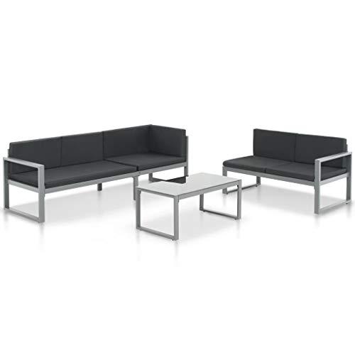 Festnight Gartensofa aus Aluminium, für Terrasse, Sofa, Patio, Schwarz - Aluminium Outdoor Patio Sofa