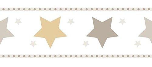Rand Tapete Kinderzimmer Sterne selbstklebend in Papier waschbar und langlebig weiß taupe gold 594–3treboli