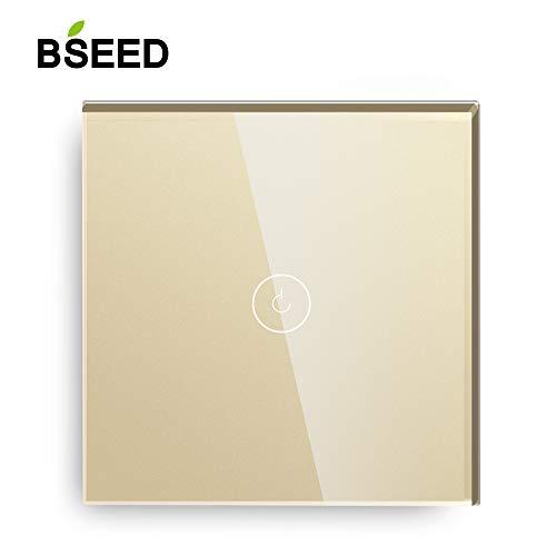 BSEED Glasscheibe Berührungsempfindliche Wandlichtschalter 110V - 250V Blaue Hintergrundbeleuchtung 1 Fach 2 Wey Gold -