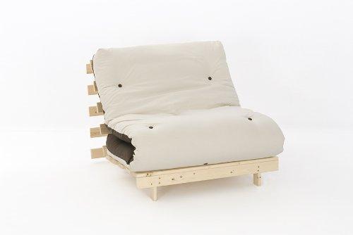 3ft LUXURY Single (90cm) Wooden Futon Set with PREMIUM LUXURY Chocolate & Cream Reversible Mattress