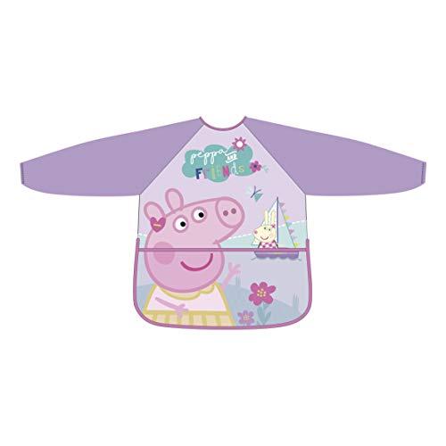 Peppa Pig Tablier rose pour fille manches longues PVC taille unique
