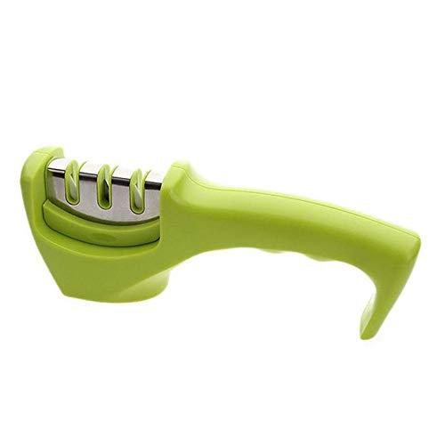 Messerschärfer 1/2/3 Stage Professional Knife Quick Sharpener Rutschfester Schärfstein Wolframstahl und keramisches Küchenwerkzeug, grün -