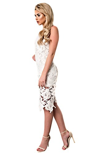 Women's Ladies Stunning Glam Lace Bodycon Dress white