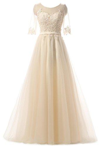 Eudolah Maxi robe de soirée en tulle pailletée parsemée des fleurs demoiselle d'honneur femme Champagne-M