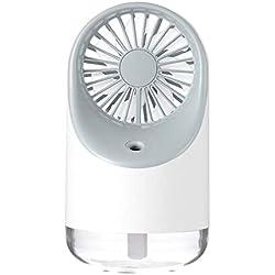 Blling Trois-en-Un Ventilateur De LumièRe De Nuit D'Humidificateur Creative Mini Lit IntéRieur USB Charge Ventilateur De Bureau Petit Cadeau pour Maison Bureau Voiture Chambre Couchrose Blanc Bleu