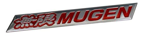 Honda Rsx Emblem (Mugen Embossed RED on Highly Polished Silver Real Aluminum Auto Emblem Badge Nameplate for Honda Acura Civic Fit Prelude Integra RSX Accord Si RSX GSR TSX CL TL GSR LS EK9 EK EG Type-R S JDM other models)