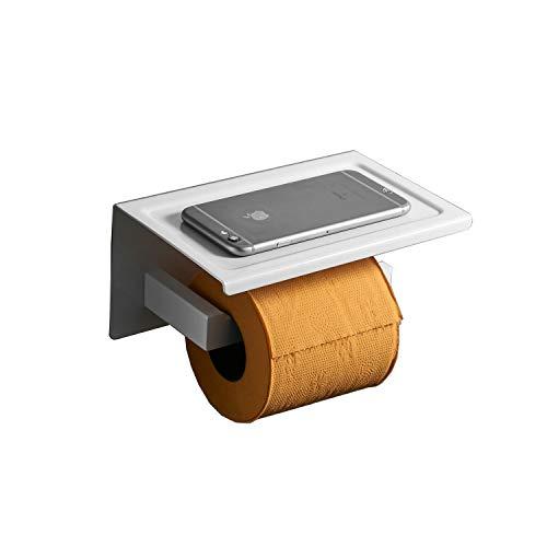 Toilettenpapierhalter mit Ablage für Mobiltelefon, Edelstahl, Weiß