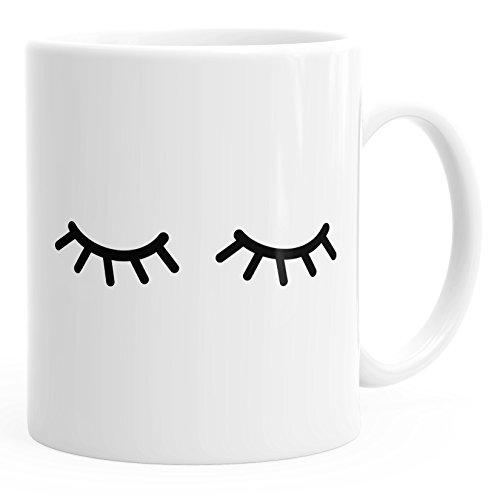MoonWorks Kaffee-Tasse Schlafende Augen Wimpern Eye Lashes Müde Schlafen Mascara weiß Unisize