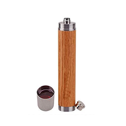 Edelstahl Flachmann - Outdoor und Camping Tragbare Flasche - Flachmann - Oak Stainless Steel - Vintage Craftwork - 1.7 oz. -