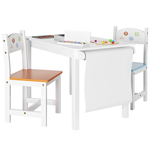 Homfa Kindersitzgruppe Kindertisch Kinderstuhl Kindermöbel aus 1x Tisch und 2X Stühle mit Rollenhalter