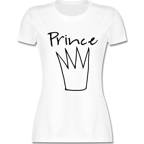Statement Shirts Prince Krone tailliertes Premium TShirt mit  Rundhalsausschnitt für Damen Weiß