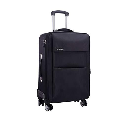 Gepäck, leicht, erweiterbar, wasserdicht, Softshell-Koffer, Business Boarding, das Chassis mit 8 Spinnrädern, Teleskopgriff, 50,8 x 61 cm, für Damen und Herren Schwarz 24-pulgadas