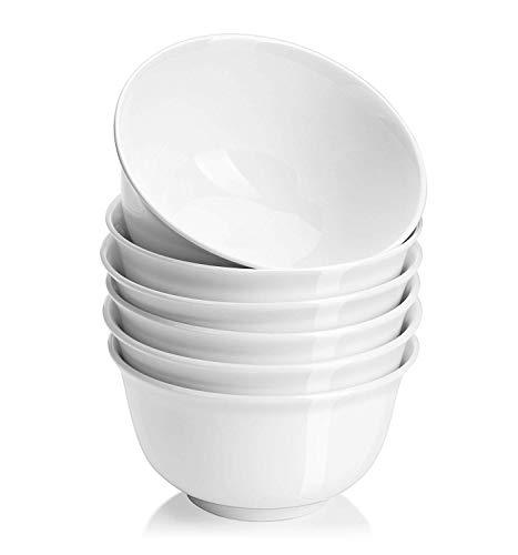 DOWAN 550ml Porzellan Schüsseln Suppe/Müslischalen, serviert für Salat/Ramen - 6er Set, weiß (Porzellan Schüssel Set)