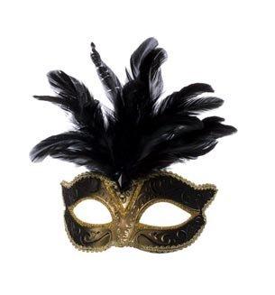 Venezianische Maske mit großer Feder, Gold/Schwarz