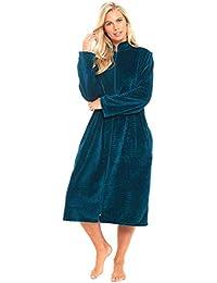 f5fe0436f0 Nightwear Heaven Ladies Full Long Length Luxury Winter Fleece Zip Dressing  Gown Robe Housecoat Size UK