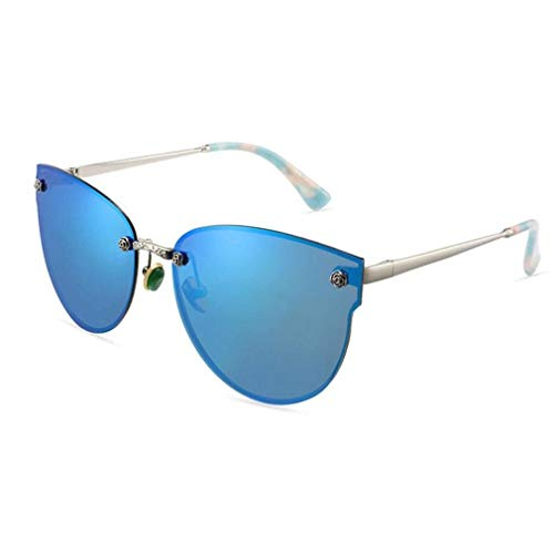 JOLLY Polarisierte Sonnenbrillen der Frauen passen Leser. Hergestellt aus randloser UV400-Linse aus widerstandsfähigem, bruchsicherem Polycarbonat (Farbe : Blau)