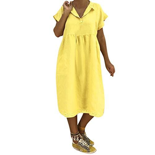 Girl Kostüm Moto - UYSDF Fashion Kleidung Damen Mode Abdrehen Halsband Sommer Kurzarm Lose Baumwolle Spitze Kleid
