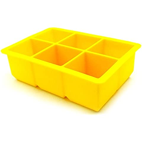 LifePlus – Cubetti di ghiaccio 6-Square morbido silicone Ice Maker Jelly stampo budino Yellow