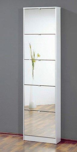 Commode-meuble--chaussures-blanc-avec-5-abattants-finition-miroir-L-58-x-H-169-x-P-18-cm-PEGANE