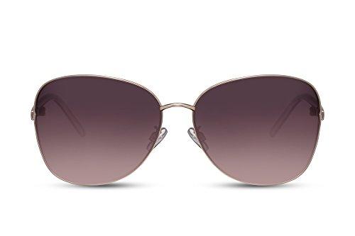 Cheapass Sonnenbrille Schmetterling Grau-e Getönt-e Linsen Verlaufsglas UV-400 Groß XXL Designer-Brille Metall Damen Frauen