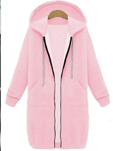 Gaodaweian Plus Size Winter Womens Zip Up Offene Kapuzenpullover Damen Langarm Mantel Tops Jacke Plus Größe (Color : Pig PINK-M)