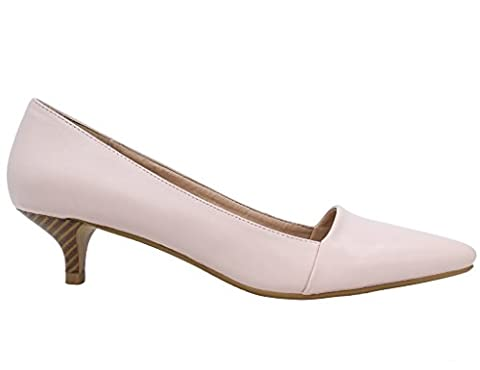 Greatonu Womens Pink Matt Pu Almond Toe Slip-on Sweet Kitten