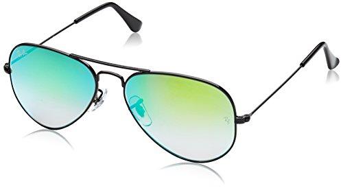 Ray-Ban Unisex Sonnenbrille Mod. 3025, (Gestell: schwarz, Gläser: grün Gradient, verspiegelt 002/4J), Large (Herstellergröße: 55)