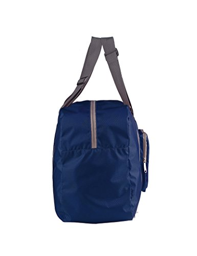WANDF Foldable Travel Duffel Bag Faltbare Reisetasche Gepäck Sport Fitnessstudio Wasserresistent(nicht wasserdicht, sondern wasserresistent, abstoßender Stoff) Nylon Grau Dunkelblau