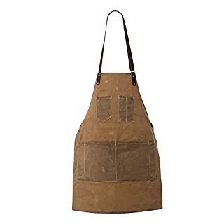 ChengYi 12 OZ Waxed Canvas Work Apron 7 Pockets Stylish Durable Coffee/Chef/Workshop Apron Pockets and Pen Holder, Adjustable Waist Ties & Leather Neck Strap Tool Aprons for Women Men CYWQ31 (Khaki)