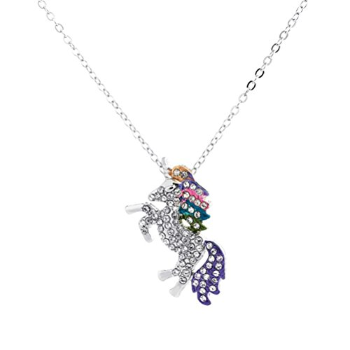 HENGSONG Unicorn Necklace Pendant Necklace With Message Card Chain Necklace Jewelry Gifts (Silver Color)