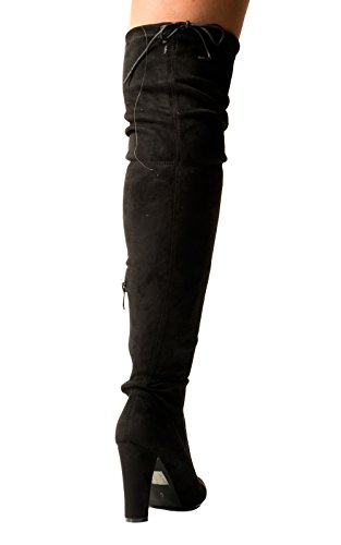 Women's Ladies Faux Suede Knee High Classic Heeled Boots Black