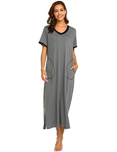 ADOME Nachthemd Baumwolle Damen still Pyjama lang weich Frauen Schlafkleid V-Ausschnitt Nachtkleid Sommer (L, 6619_dunkelgrau) (ärmel Nachthemden, Lange Damen)