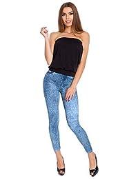 d4536145659d FUTURO FASHION Womens Full Length Leggings Jeans Imitation Ladies High  Waisted Pants M-XL G10