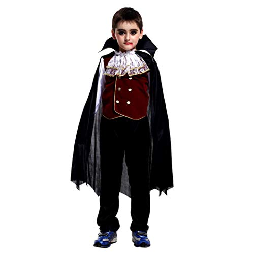 3er Halloween Cosplay Kostüm Mantel Outfits Set Tops + Pants + Umhang Vampire Performance Suit (Schwarz, 10 Jahre)