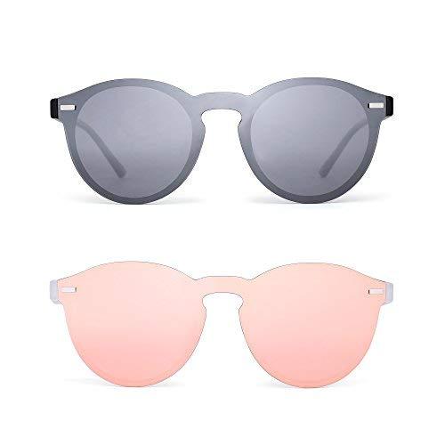 ec52efe92c Polarizadas Sin Marco Gafas de Sol Reflexivo Una Pieza Redondas Espejo  Anteojos Para Hombre Mujer 2