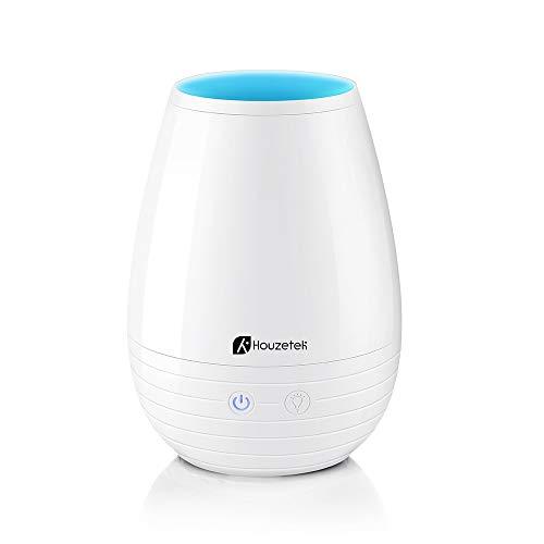 Houzetek Humidificador Ultrasónico 400ml, Difusor de Aceites Esenciales, Auto-Apaga, Purificador de Aire con 7 Colores LED para Purificar el Aire y Mejorara el Aire Seco (Blanco)