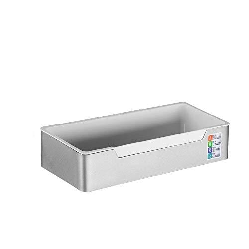 Bathroom Shelf Drill sans adhésif Douche étagère avec 2 Crochets, Montage Mural Non Rouille Aluminium Douche Caddy Panier de Rangement for Le shampooing Racks (Color : White)