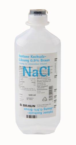 NaCl 0,9{5fec49005bbd861a5cd62cd4c0e91a74c849aff9ef01e599e2c32ba3e68665e5} Kochsalzlösung von Braun, 500 ml - 10 Flaschen