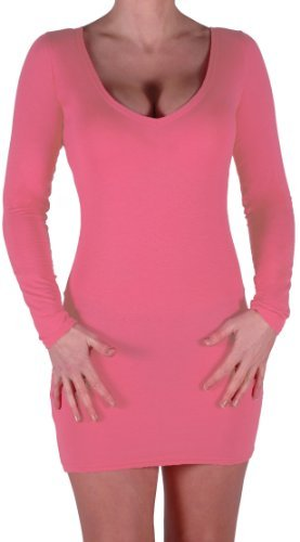 EyeCatch - Robe courte moulante stretch col V - Rachel - Femme Corail
