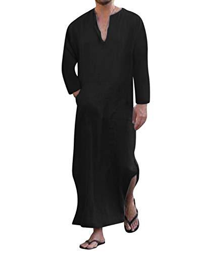 Jacansi Herren V-Ausschnitt Leinen Ethnisch Kaftan Langarm Casual Dünne Einfarbig Nachtwäsche Roben Baumwolle Mit Taschen Schwarz DE 46 (Robe Sleepshirt)