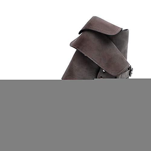Stiefel Damen Sunnyadrain lässig Vliese Quadratische Ferse Knöchel Reines farbleder Herbst Winter Schuhe Wedges High Heel Stiefeletten für Frauen