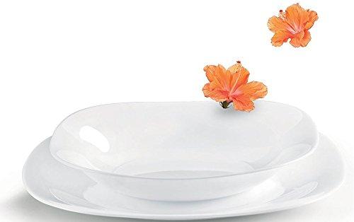 Rocco Bormioli Parma Service composé de 12 assiettes carrées en verre trempé opale,comprenant 6 assiettes plates et 6 assiettes creuses, blanc