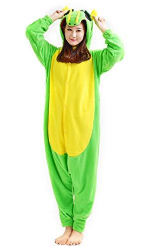 suit Tier Pyjamas Kostüm Fasching Onesie Damen Herren Karneval Cosplay Nachtwäsche, Grün Drache ()
