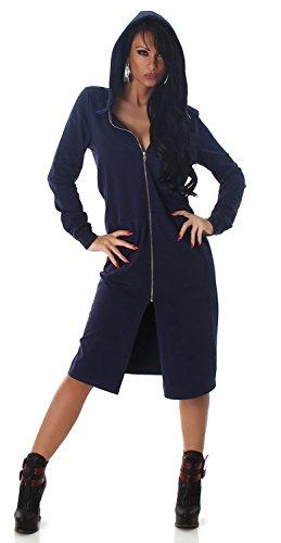 Jela London Damen Jacke & Kapuzenkleid mit Print am Rücken, navy Größe 36 38