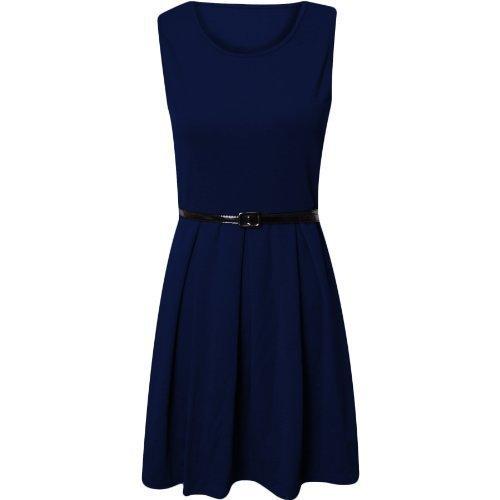 Damen Kleid Skater Sexy Enges Mini Party Kleid - 36-38 (SM), Marineblau (Flirty Mini-kleid)